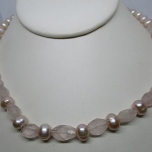 Genuine Pearl, Genuine Rose Quartz Sterling Silver